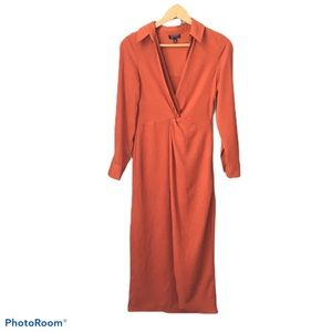Top Shop Burnt Orange V-Neck Midi Dress